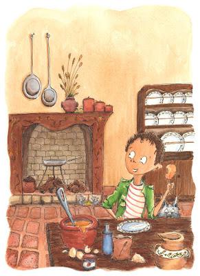 aquarelle illustration cuisine garçon