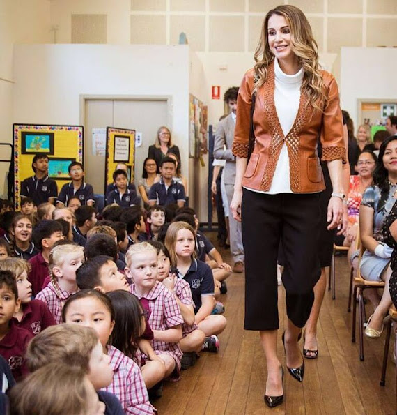 Queen Rania wore a leather jacket, Gianvito Rossi umps, Prada leather handbags, Fendi trouser and wore Gold diamond earrings