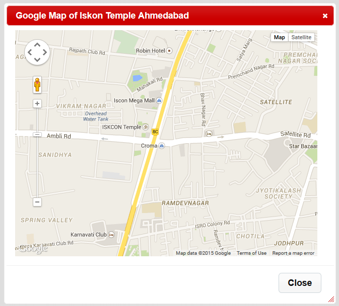 display Google maps inside the modal popup using jquery in