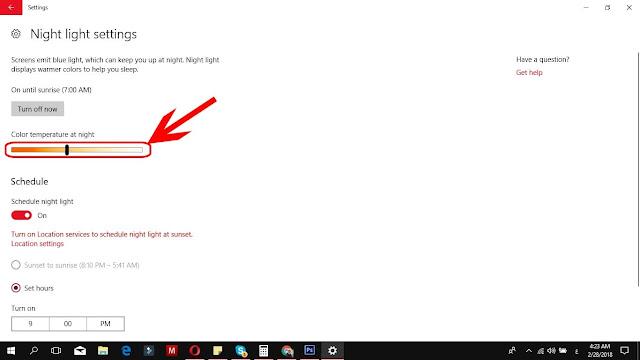 كيف اجعل سطوع الشاشة احمر في ويندوز 10