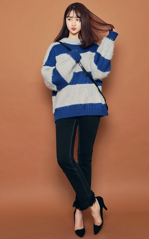 Faux Wool Blend Wide Stripe Sweater