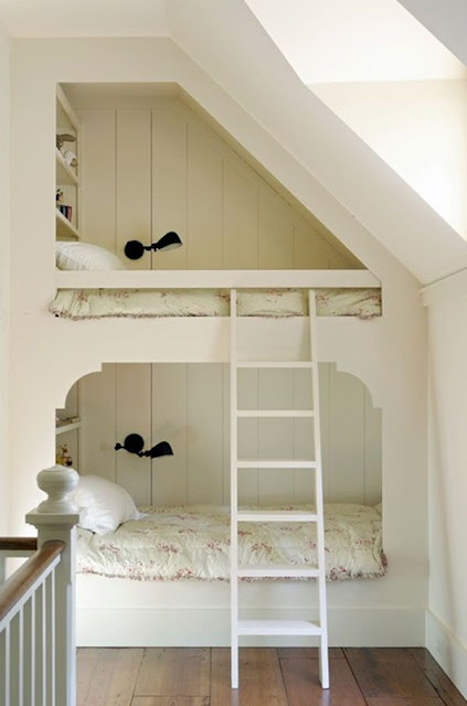 Gorgeous white bunk room with cottage style - found on Hello Lovely Studio
