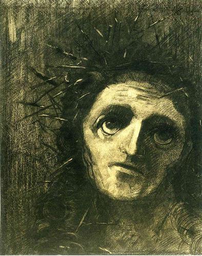キリスト オディロン・ルドン、不気味な「目」を描いた画家の作品、10枚【a】