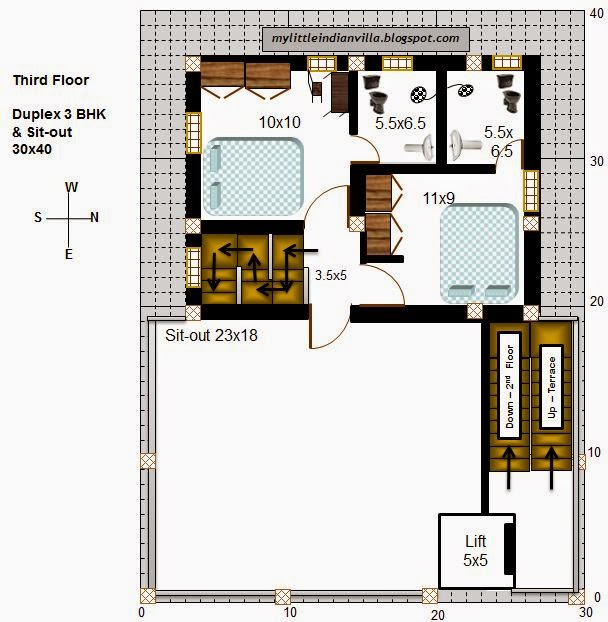 15 X 40 House Plan East Facing With Car Parking: My Little Indian Villa: #57#R50 2 Duplex 3BHK In 30x40
