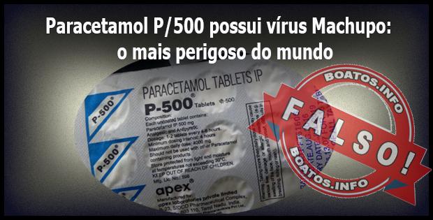 Paracetamol P-500 possui vírus Machupo, o vírus mais perigoso do mundo.
