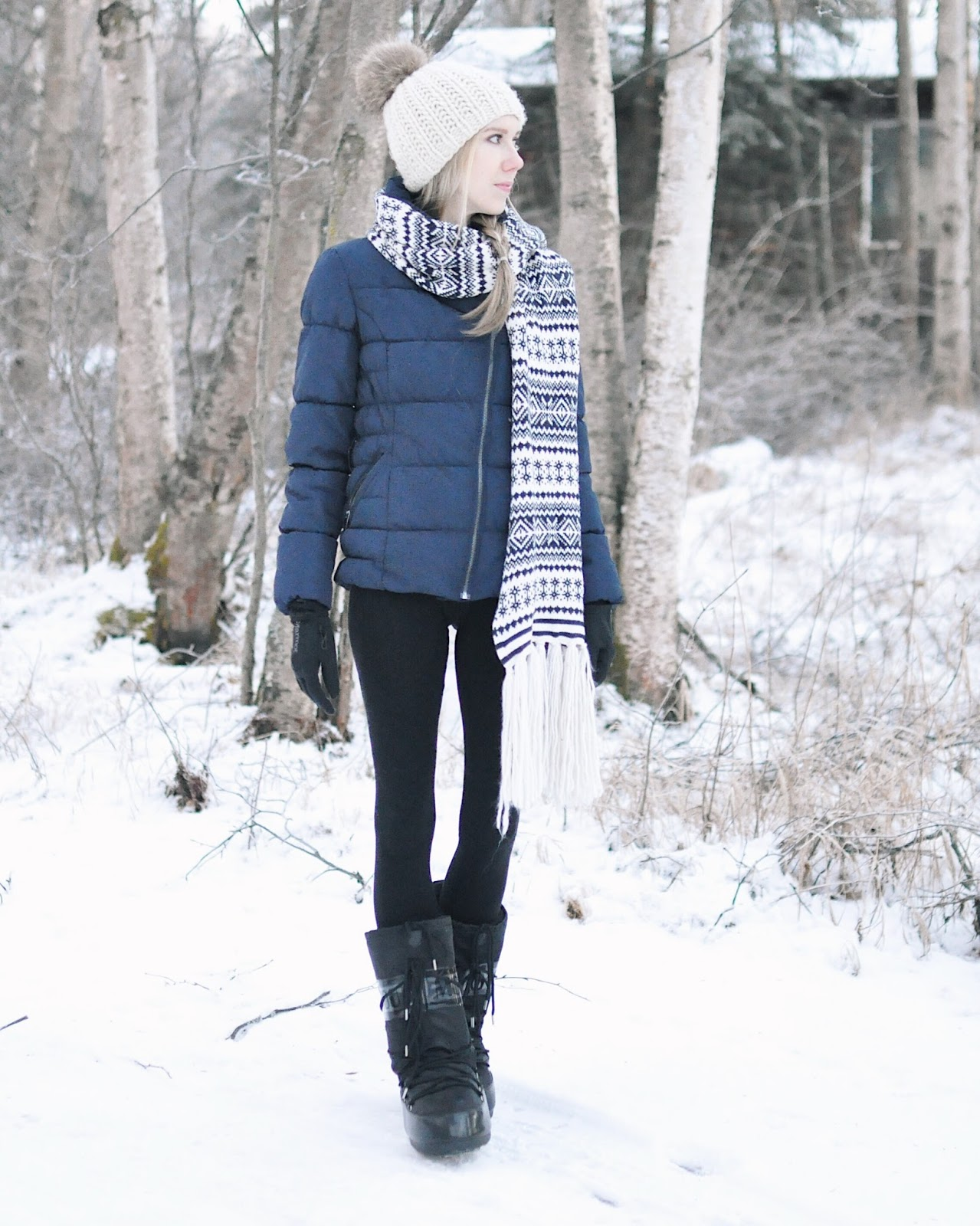 puffer coat snow outfit