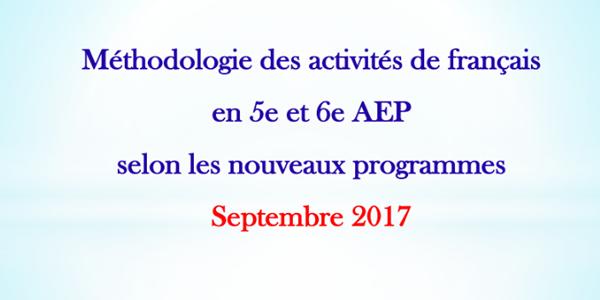 Méthodolgie des activités de français en 5e et 6e AEP