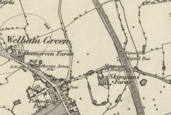 Map showing the Bell Bar signal box (just off Bulls Lane) where Henry Town worked  It was demolished by 1896 and replaced with the Marshmoor signal box  OS six-inch map of Hertfordshire published 1883   Courtesy of the National Library of Scotland, released under Creative Commons