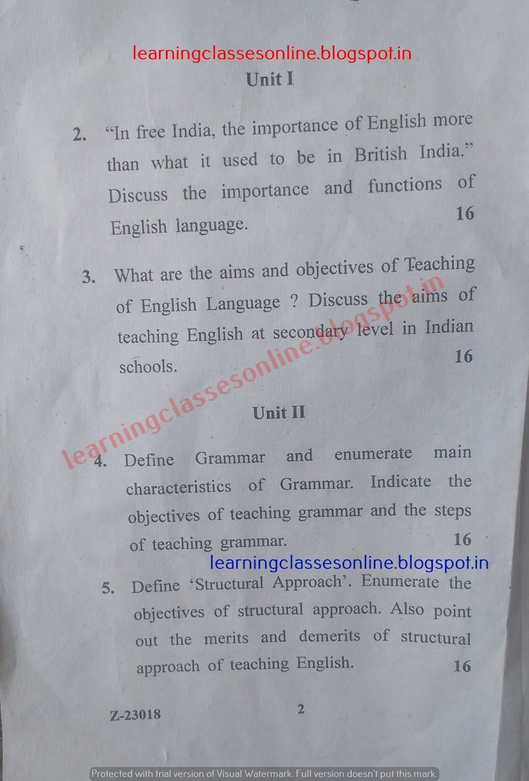 pedagogy of English Question Paper