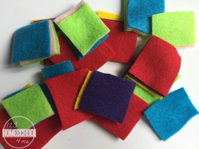 cut squares out of craft felt
