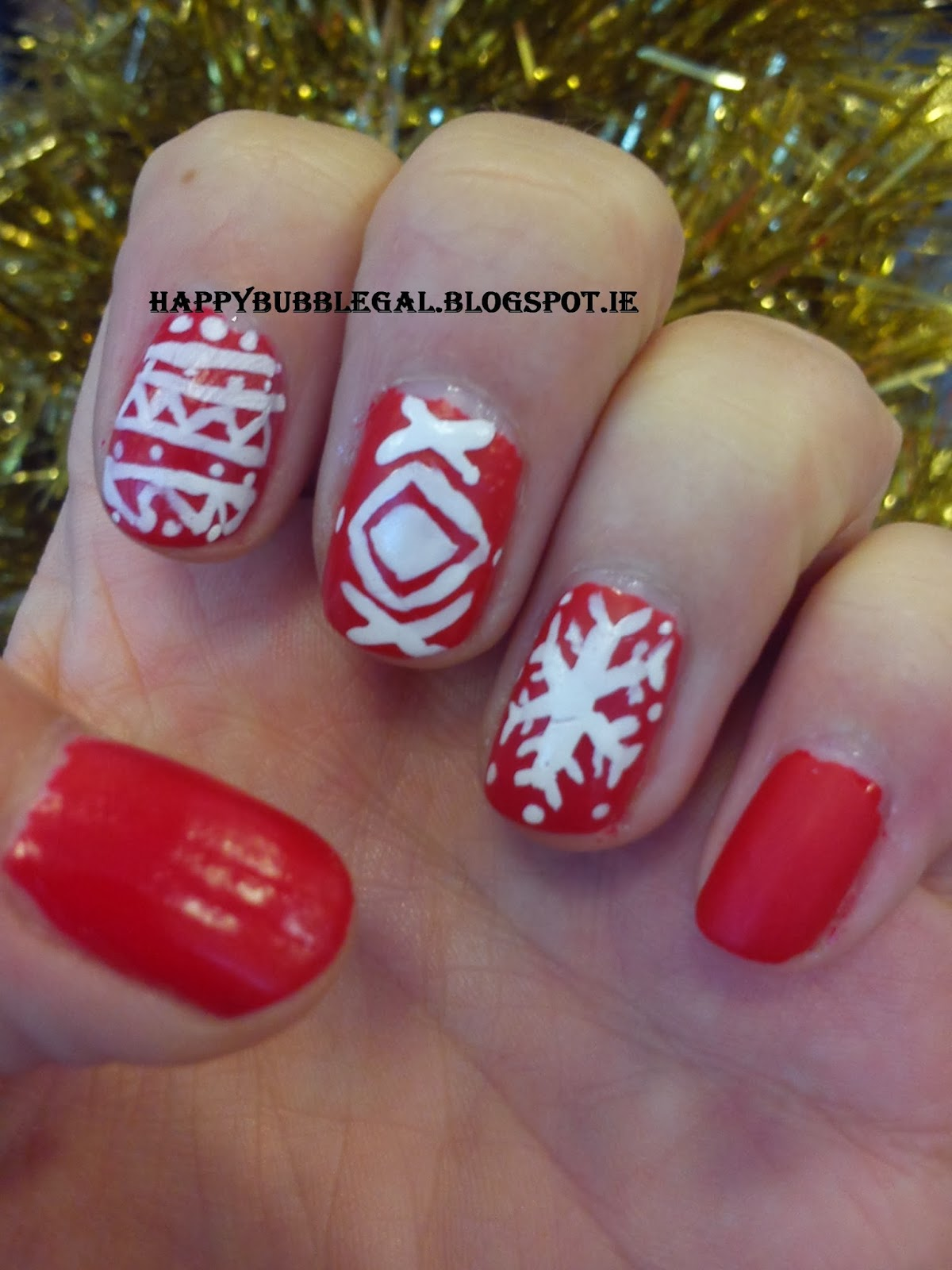 Christmas Nail Art French Manicure Red With White: Happy Bubble Gal: Christmas Nail Art