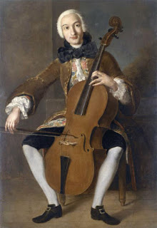 Boccherini playing the cello, thought to  have been painted between 1764 and  1767 by Pompeo Batoni