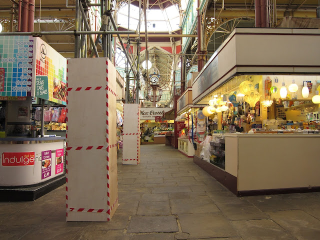 Snack stalls and lamp stall, Halifax indoor market, Yorkshire