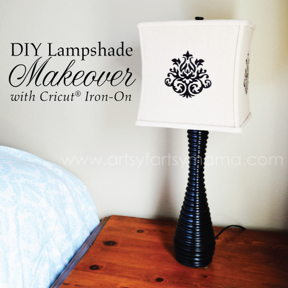 Lampshade Makeover With Cricut Iron On