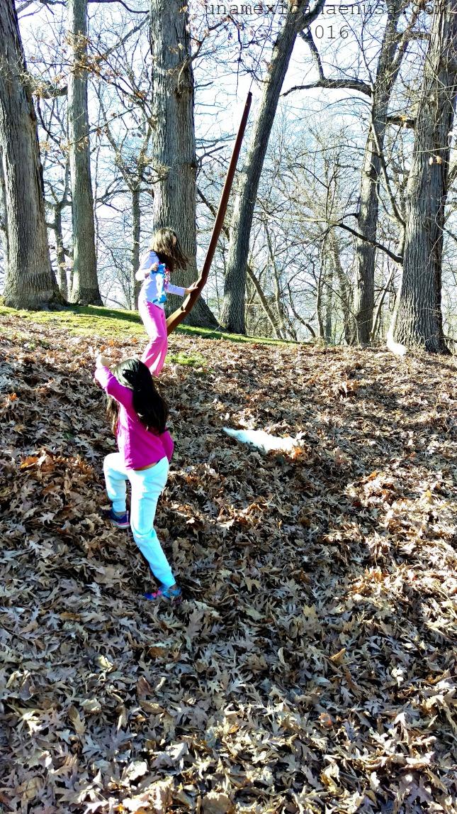 Niñas jugando con su perro con las hojas secas en el Parque Glen Oak, Peoria Illinois.