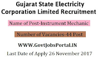Gujarat State Electricity Corporation Recruitment 2017–44 Instrument Mechanic