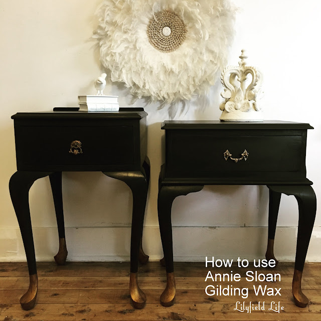 How to use Annie Sloan Gilding Wax Gold dipped bedside tables