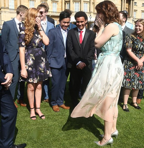 Princess Eugenie wore a silk dress by Peter Pilotto, the designer of her wedding dress. Countess of Wessex wore a floral print dress by Suzannah