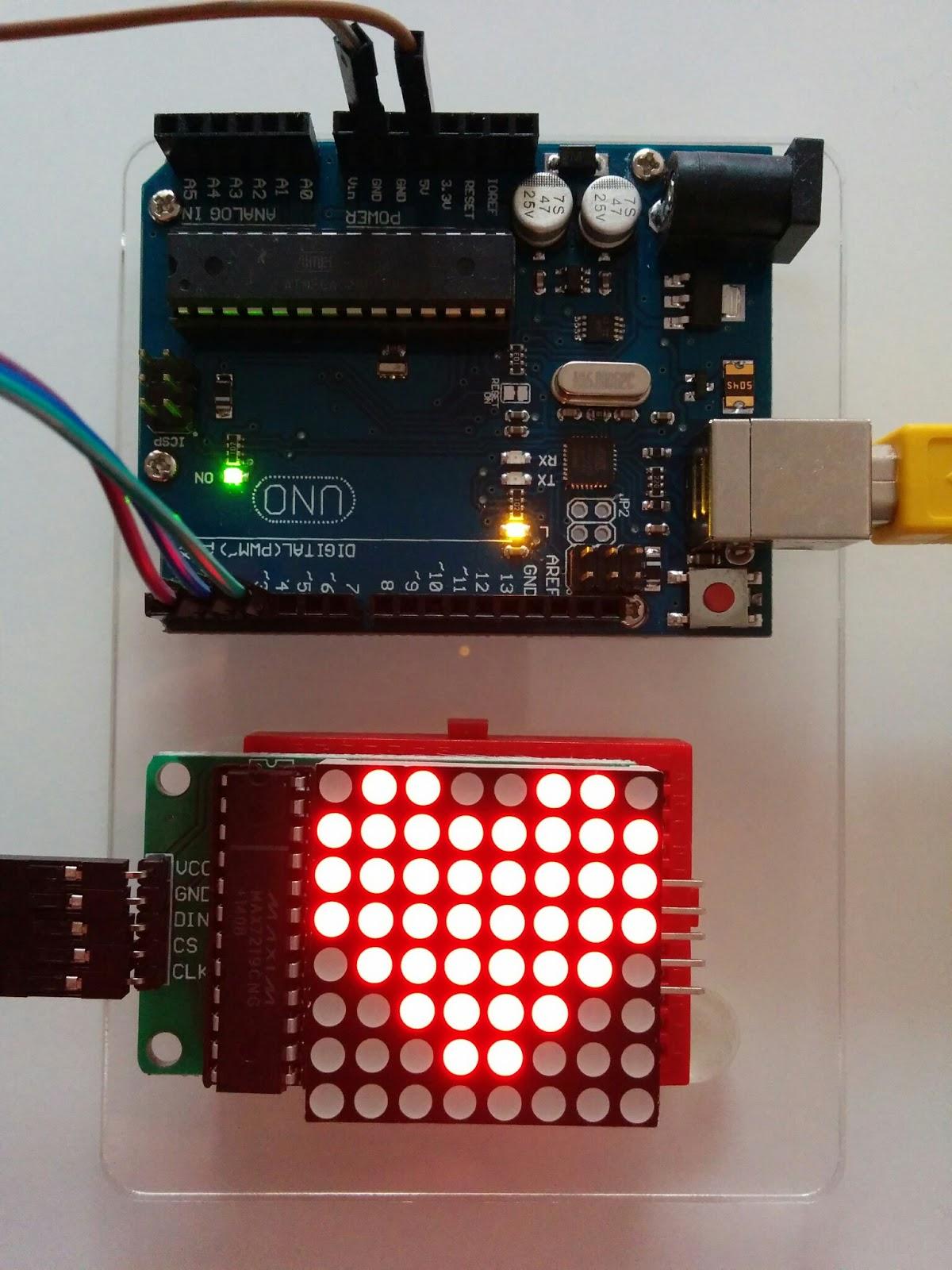 Arduino 8×8 led matrix max7219 code