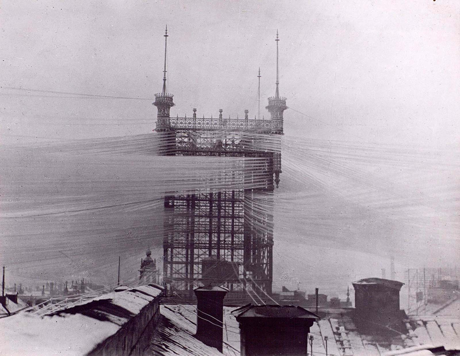 "The old ""Telefontornet"" telephone tower in Stockholm, Sweden, with approximately 5,500 telephone lines c. 1890."