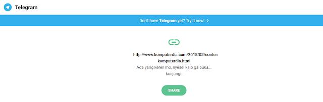 Cara Membuat dan Memasang Tombol Share Telegram Untuk Blog AMP dan Non AMP