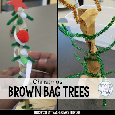 STEM Challenge: Build a Christmas tree using a brown paper bag!