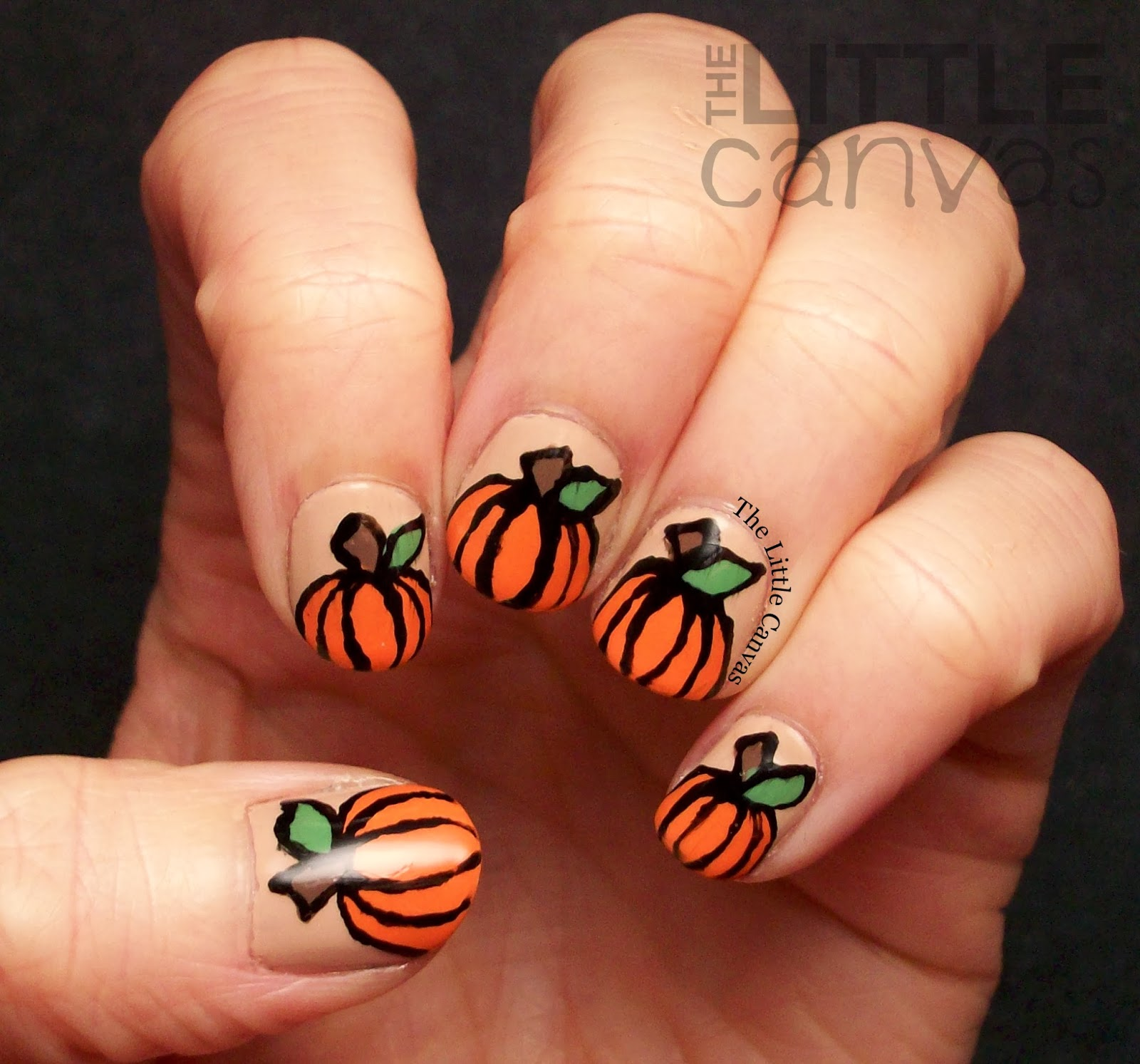 PolishPals Thanksgiving Pumpkin Nail Art - The Little Canvas