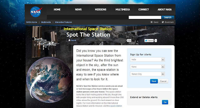 Get SMS / email alert from NASA and spot the ISS