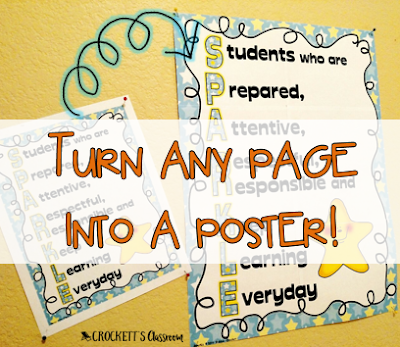 Turning a single page .pdf file into a large display poster is super simple.  It's an easy way to create anchor charts and other displays for your classroom.
