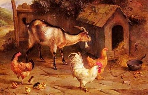 köpek kulübesi keçi ve tavuk yağlı boya resmi