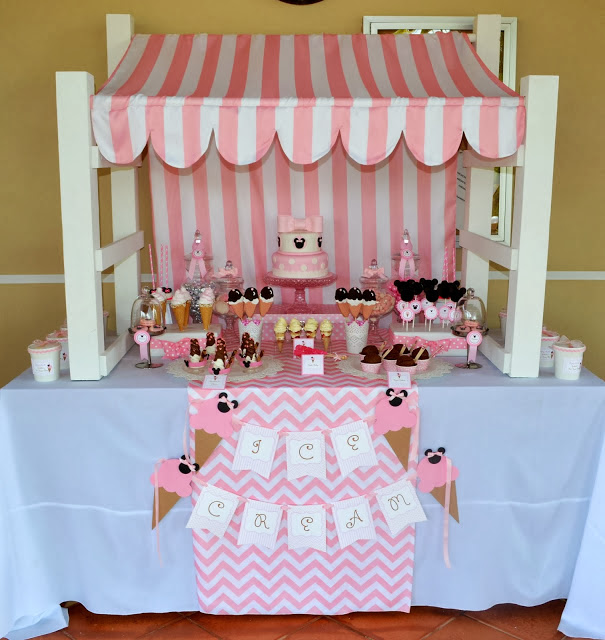 pink stripes canopy over dessert table