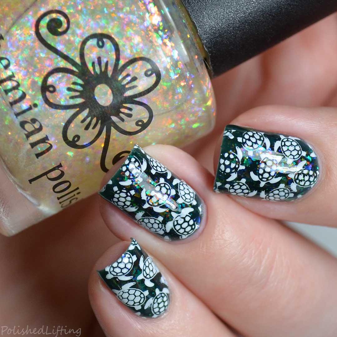 Polished lifting digit al dozen all that glitters sea turtles sea turtle nail art prinsesfo Images