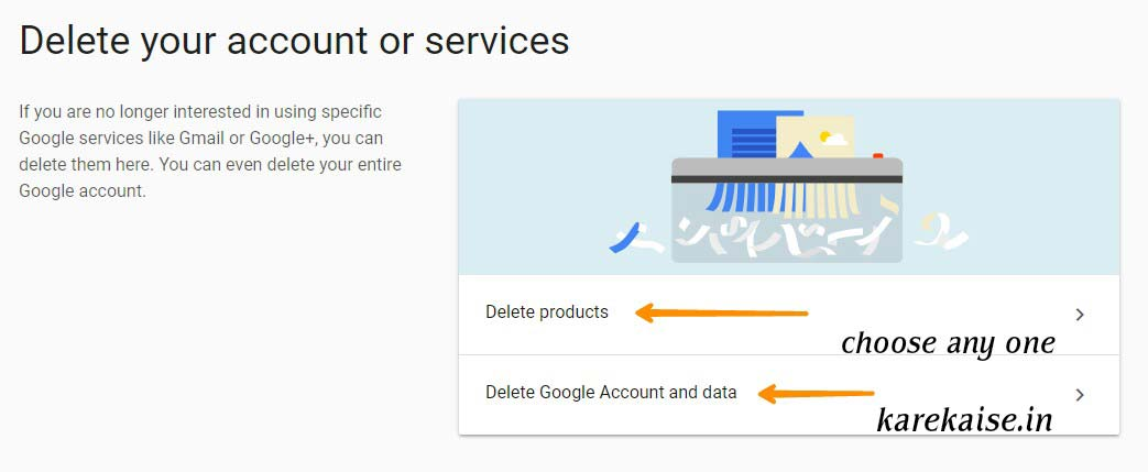 delete google account and data par click kare