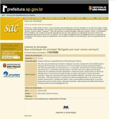Documento enviado à Subprefeitura Pirituba/Jaraguá/São Domingos solicitando a tomada de providências