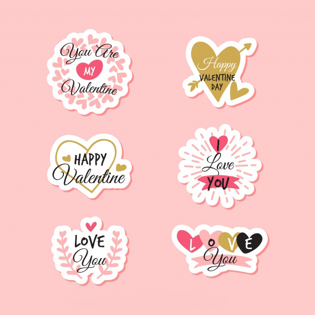 Flat valentine's day label/badge collection Free Vector
