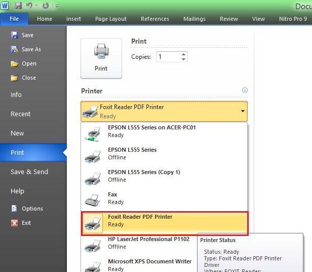 Cara Mengubah File Word Menjadi PDF dengan Foxit Reader