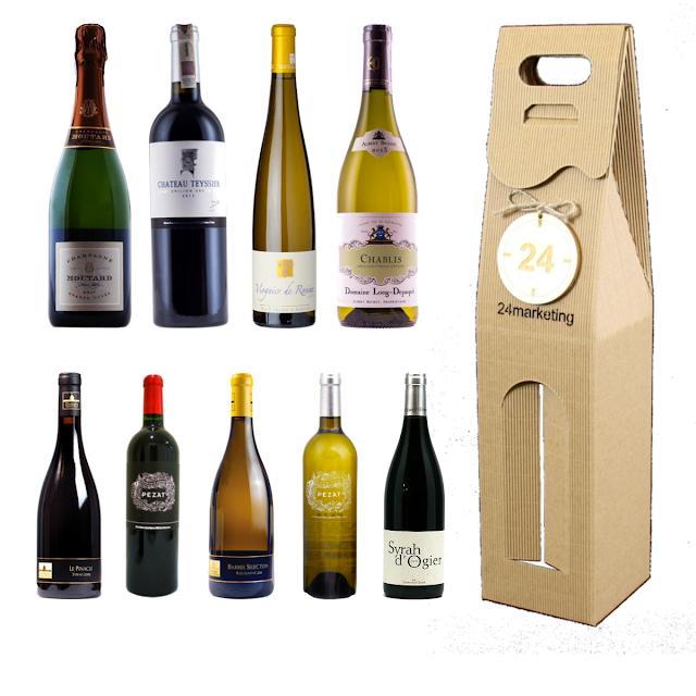 Pudełko na wino szare z okienkiem z logo