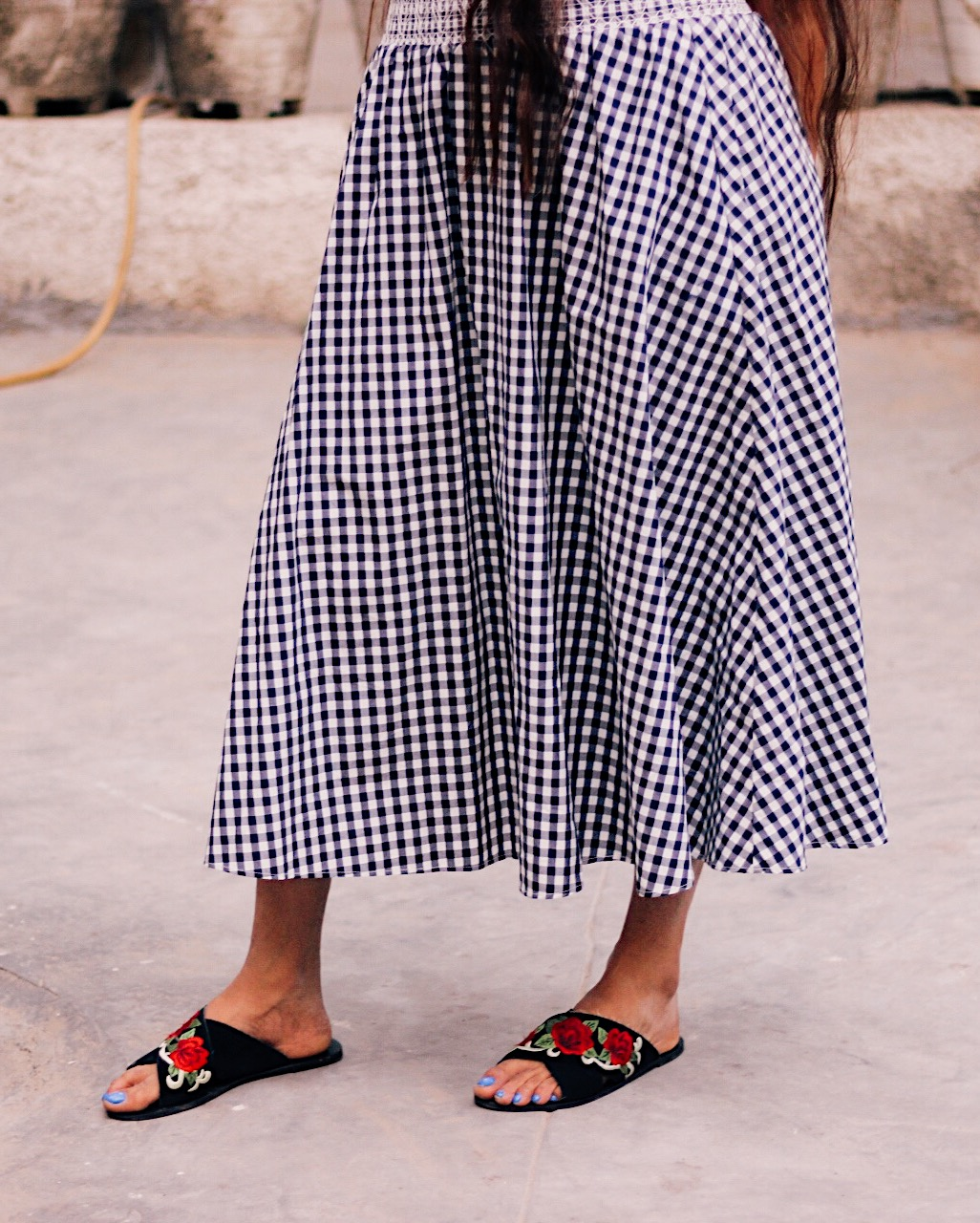 slides shoe trend 2018, shoe trend, trend 2018, major trend of the year, indian blogger, uk blog, london blog, gingham skirt, asos slides, embroidered slides, slides, slippers,