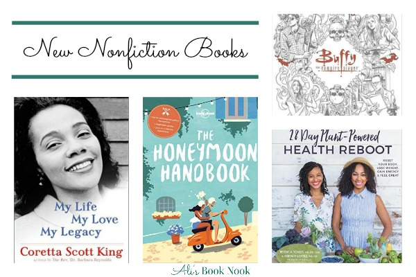 New nonfiction biography, cookbook, travel guide for honeymooners, and Buffy coloring book