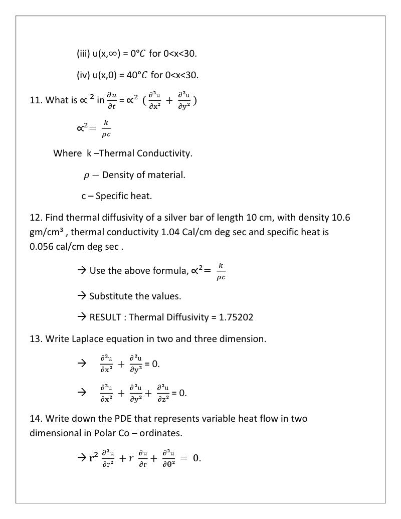 Unit 4 - Two Dimensional Heat Equation