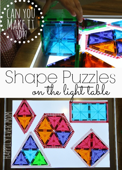 Shape puzzles on the light table