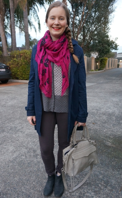 navy macintosh, purple skinny jeans, mixed print shirt and skull scarf, RM MAM bag | away from blue