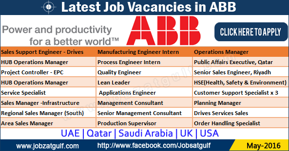 Latest Job Vacancies in ABB - UAE | Qatar | Saudi Arabia ...