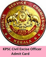 KPSC Civil Excise Officer Admit Card