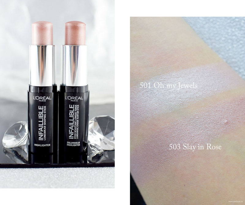L'Oréal Infaillible Kontur-Stick Highlighter, Swatch, alle Farben
