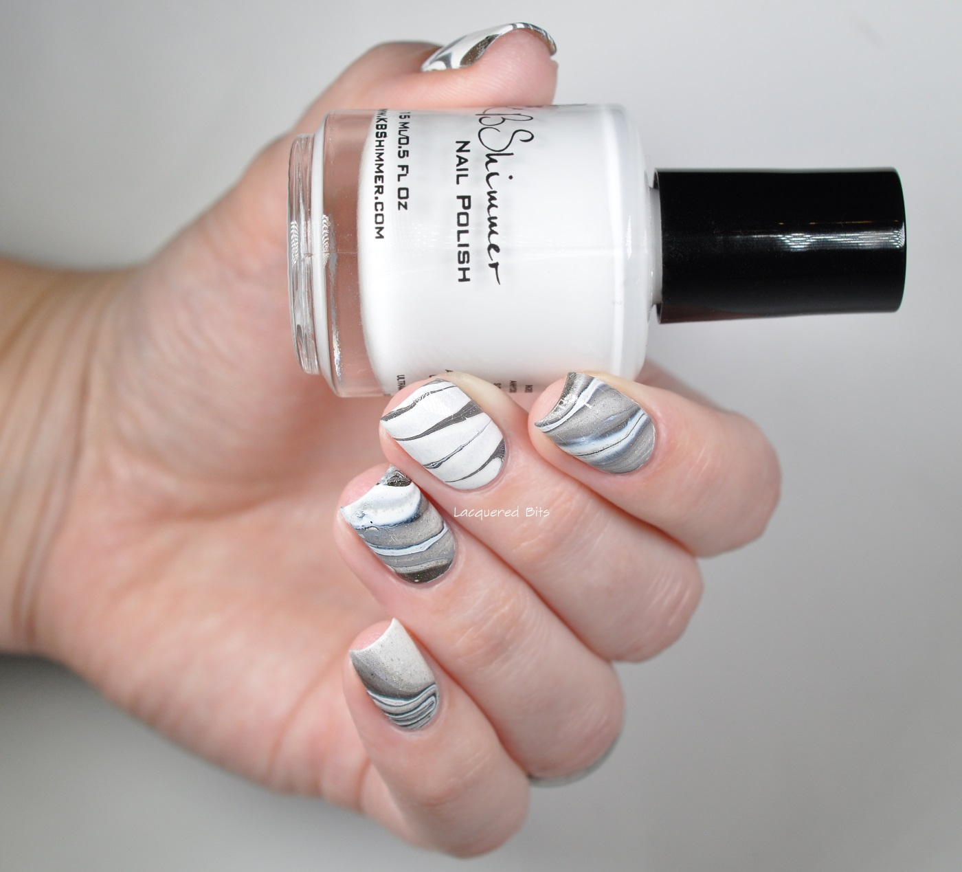 White & Black Water Marble Nails - Lacquered Bits