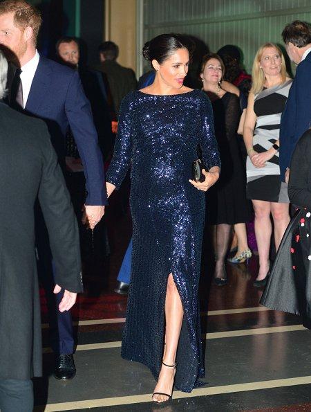 Meghan Markle wore Roland Mouret sequined gown,  Stuart Weitzman pumps, Princess Diana's bracelets