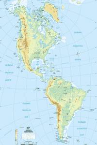Localización de las penínsulas más importantes en el mapa físico de América