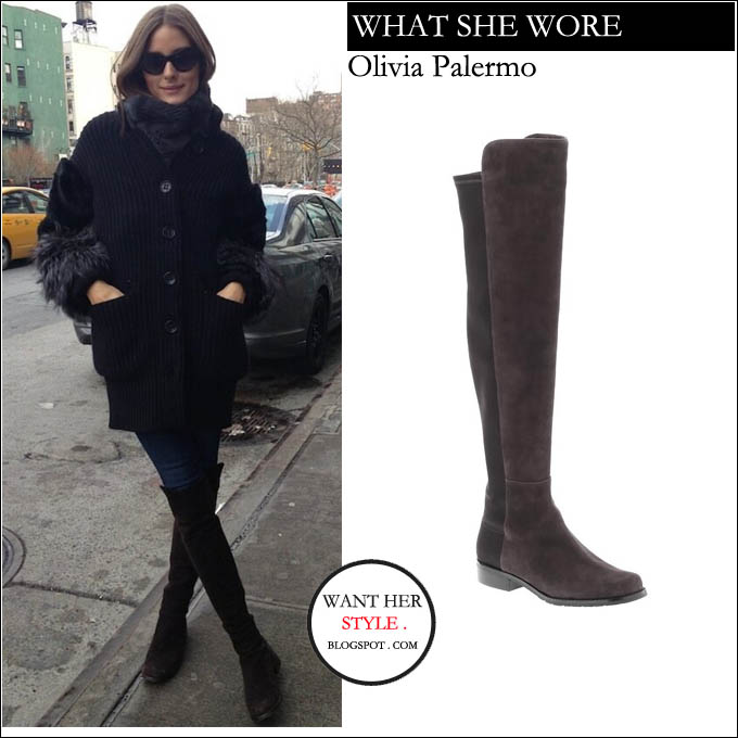 9588418ae0d WHAT SHE WORE  Olivia Palermo in suede over the knee boots in New York on  February 3 ~ I want her style - What celebrities wore and where to buy it.