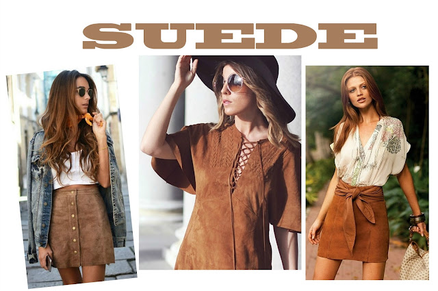Looks em suede, tendência suede, moda suede